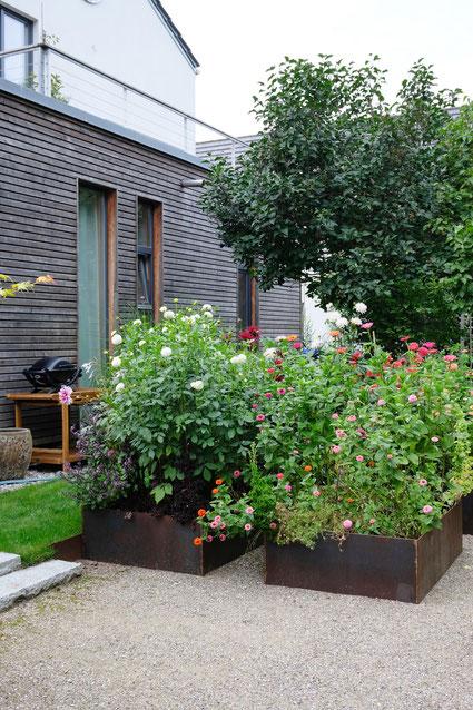 dieartigeGARTEN // August Garden - high beds with dahlias / Hochbeete mit Dahlien