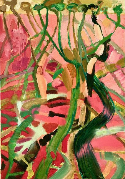 Dessous, 2021, Acryl auf Leinwand, 100x70