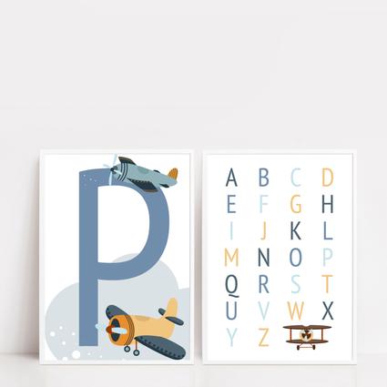Flugzeug Kinderzimmer Poster ABC Poster Einschulung Geschenk Einschulung