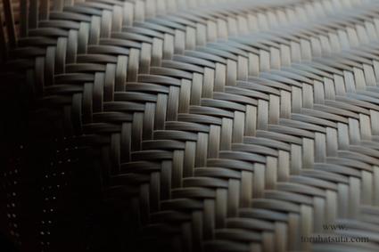網代編みの竹籠の編み目