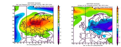 links: Alle Jahre mit einer Temperaturabweichung von mehr als 1K über Westgrönland im Juli,August und einer positiven Druckanomalie über Leningrad und Moskau im Oktober, rechts: Die Temperaturabweichung des Folgewinters über Mitteleuropa