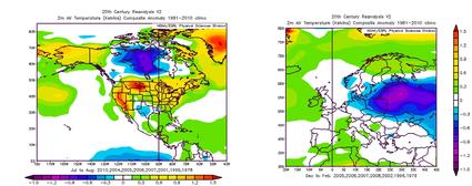 links: Die Temperaturabweichung Westgrönlands des ausgewählten Zeitraums, rechts: Die Temperaturabweichung des Folgewinters über Mitteleuropa