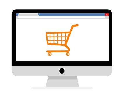 Online Einkaufen, Bildschirm mit Einkaufswagen