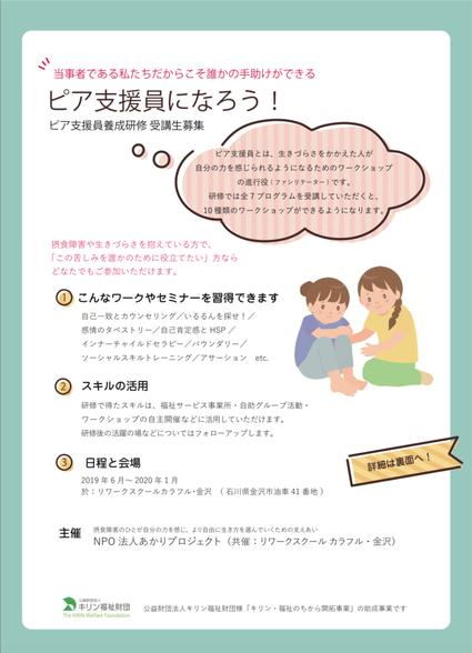 ピア支援員養成研修2019表