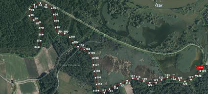 Auszug aus der Karte mit den Wegpunkten zur Orientierung