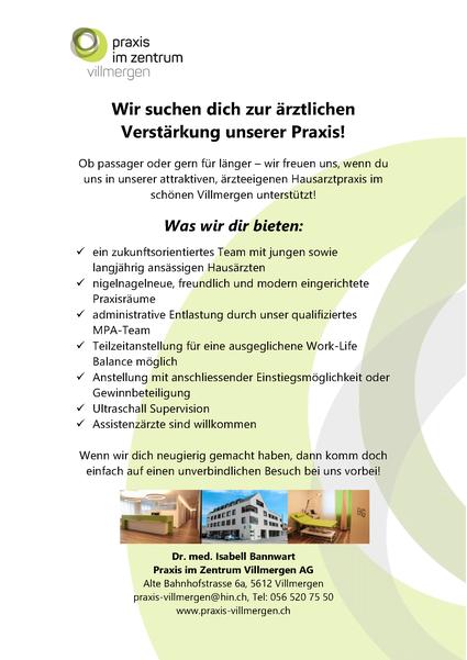 Stellenangebot Arzt Ärztin Praxis im Zentrum Villmergen