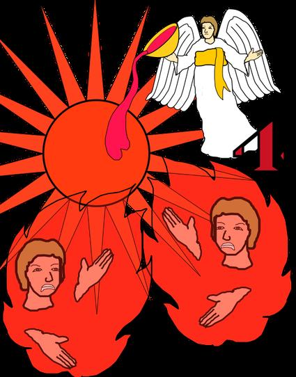 Le quatrième ange verse sa coupe d'or remplie de la colère de Jéhovah. Il verse cette coupe sur le soleil. Cela nous rappelle la quatrième sonnerie de trompette. Le tiers du soleil, de la lune et des étoiles est obscurci.
