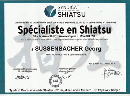 Spécialiste en Shiatsu SPS