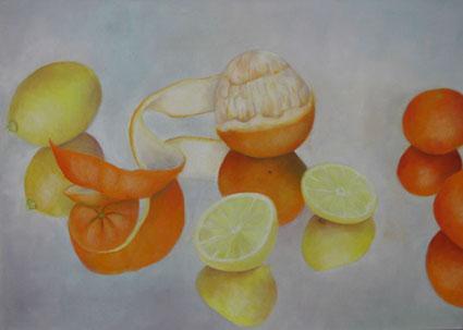 Apfelsinen mit Zitronen   Öl auf Leinwand 70x100cm