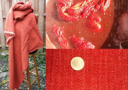 Handgewebter Diamantköper zum schneidern einer Hose nach Damendorf aus krappgefärbten Wollgarnen