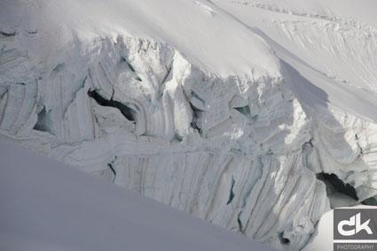 Gletscherspalten unterhalb Feejoch