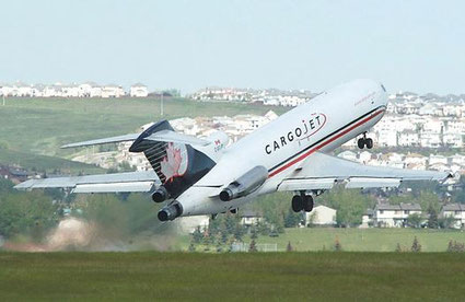 In addition to Boeing 767Fs and B57Fs Cargojet still operates a fleet of nine 727Fs  /  company courtesy