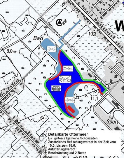 Detailkarte des Angelbereichs im Ottermeer Wiesmoor Ostfriesland