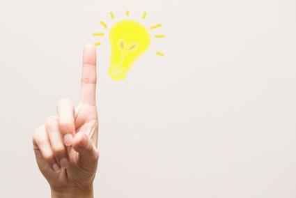 立てた人差し指と電球のイラスト