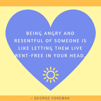 Being angry and resentful of someone ist like letting them live rent-free in your head George Foreman visuelle zitate