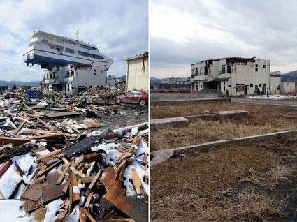 Japon, Otsuchi, dans la préfecture d'Iwate, deux ans après le tsunami  (sources http://tempsreel.nouvelobs.com/ (AFP PHOTO)  Publié par Cyril Bonnet)