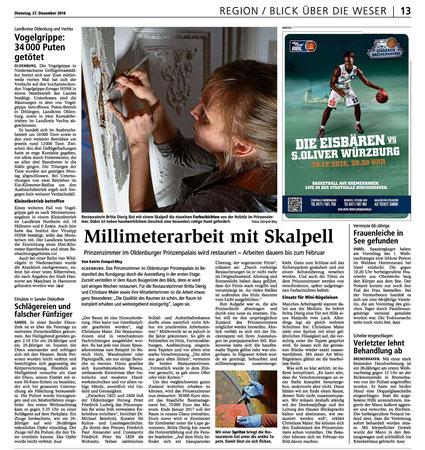 Presseartikel über die Restaurierung des Prinzenzimmers im Prinzenpalais Oldenburg. Erschienen in der Kreiszeitung Wesermarsch am 27.12.2016 (Autor: Katrin Zempel-Bley)