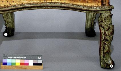 Endzustand | Ergänzte und retuschierte Sesselbeine (1. hinten links und 2. vorne rechts)