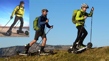 Mit Skike Skiken bzw. Skyking ist mehr als nur Cross Skating - damit gehts auch richtig in die Berge, wie beim Tourengehen. Skating wie beim Langlaufen geht jedoch genau so. Sichere Bremsen sorgen für sicheres Abfahren.