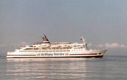 Le M/V Goelo, navire affrété entre 1980 et 1982 par Brittany Ferries pour la ligne Saint-Malo - Portsmouth.