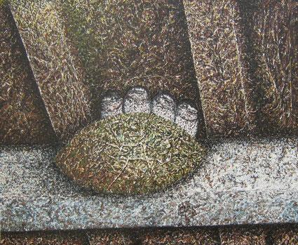 Nid d'hirondelles,   Huile sur toile 50 x 60 cm