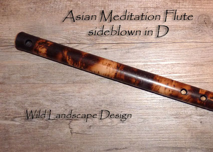 Asian Meditation Flute sideblown in D - Wild Landscape Design - Northern Lights Flutes - Jürgen Hochfeld