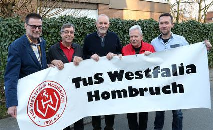 Blicken erwartungsvoll in die Zukunft: Heinz Kähler (2. Kassierer, v. l.), Dietrich Jobstvogt (2. Vorsitzender), Winfried Stockheim (Sozialwart), Gerd Schlebrowski (1. Vorsitzender) und Schriftführer Thorsten Rauer vom Vorstand des TuS Westfalia Hombruch.