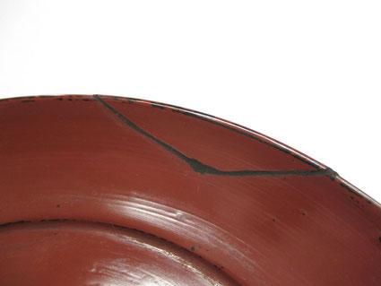取り皿 錆漆で補修
