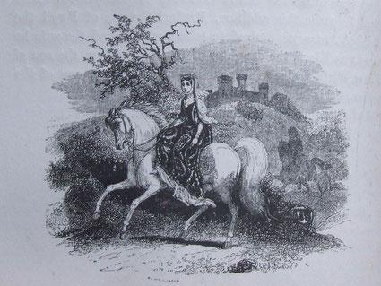 Bild: Rhiannon riding in Arberth von Charlotte Guest, 1877