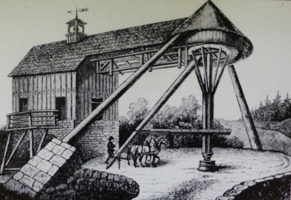 historische Ansicht des Pferdegöpels auf dem Förderschacht
