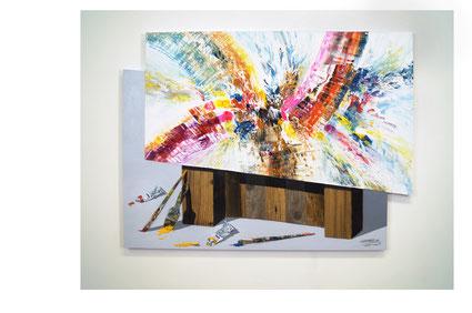 Abstraktes, farbenfrohes Gemälde.