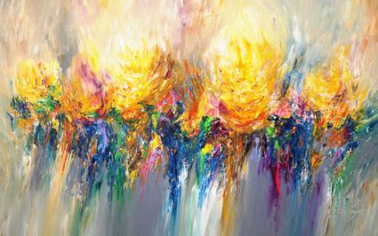 abstraktes großes Gemälde, gelb bunt