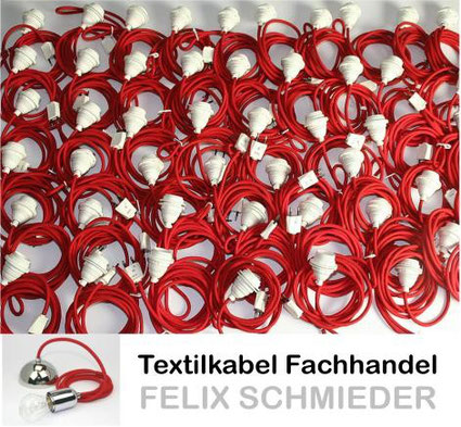 Textilkabel Leuchtenpendel rot mit Euro Flachstecker haben Kinder bekommen
