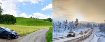 Überland bei  Sonnenschein  ist die Unfallgefahr kleiner als bei Schneetreiben auf Autobahnen. In gewissen Ländern schlägt sich dies in der Prämie nieder. Nicht so in der Schweiz.