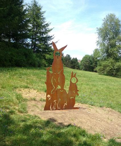 silhouette, animaux, acier, corten, land art, sentier pédagogique, botanique, saint Genest malifaux, illustration