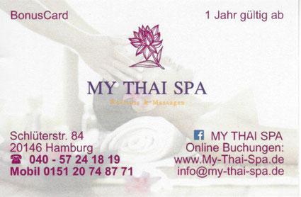 bonus card my thai spa wellness thai massage hamburg rotherbaum eppendorf. Black Bedroom Furniture Sets. Home Design Ideas