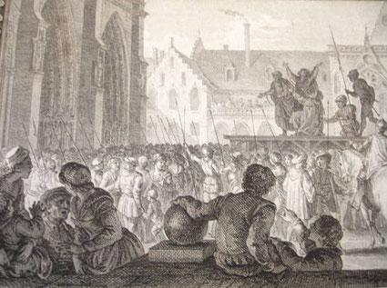 Parvis de Notre-Dame - Gravure du XVIIIème siècle