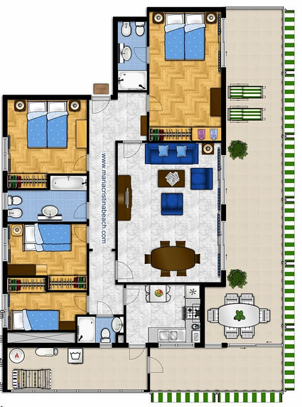 plans appartement emperatriz benidorm