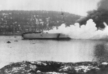 The Blücher sinking in Drøbaksundet
