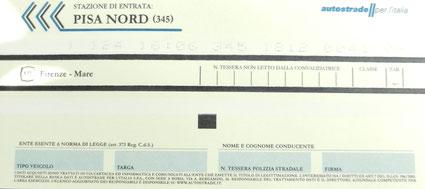Ticket Autobahn-Maut Italien