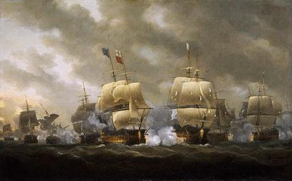 Document 3_La bataille des Cardinaux en 1759 par Nicholas Pocock, National maritime museum, Greenwich
