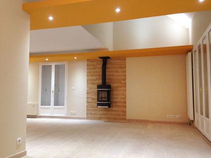 Poêle, salle de séjour, salle à manger, puits de lumière, espace cathédrale,  jaune, faux-plafond, mur en pierre