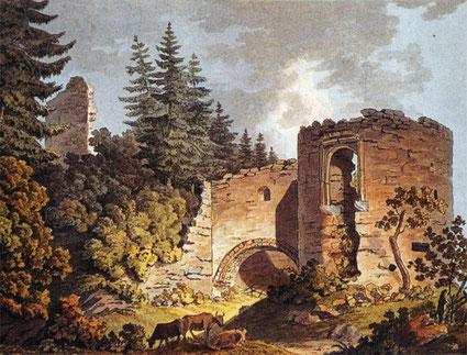Ansicht der Barbakane von Nordwesten, Aquarell, 2. Hälfte 19. Jahrhundert