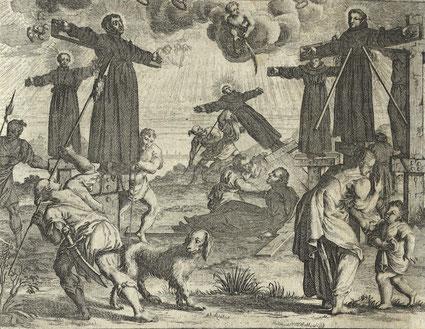 Die Kreuzigung der Martyrer von Nagasaki 1597, in: Hazart, Cornelius: Kirchen-Geschichte... Bd. 1, Wien – München 1727, 431; PB Amberg: H. eccl. 37(1.