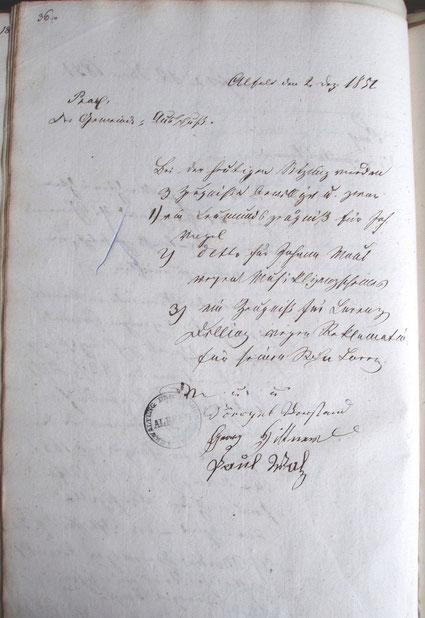 Abb. 1: Niederschrift im Alfelder Protokollbuch vom 2. Dezember 1851.
