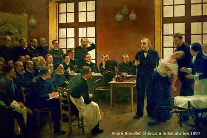 Charcot hypnotisiert eine Frau mit Hysterie. Viele Ärzte studieren seine Methode.