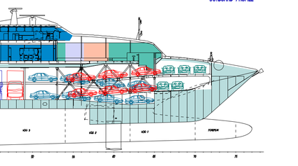 The ramp layout of the car deck on board Normandie Express.