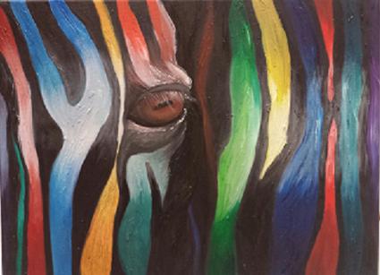 Zebra op een alternatieve manier kunstzinnig uitgebeeld - abstracte vormgeving