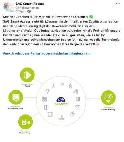 LinkedIn Post von SAG Smart Access