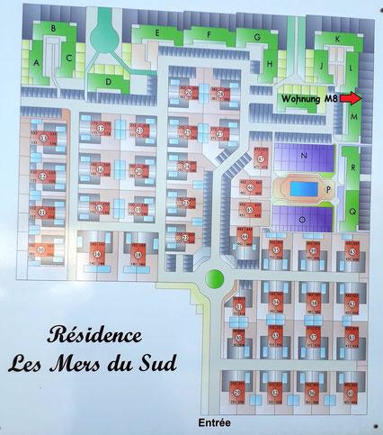 Appartement à Gruissan Les Ayguades - plan de la résidence